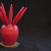 Vintage Collectible Strawberry Appetizer Picks Red Bakelite Handles 1950-60s Excellent Condition