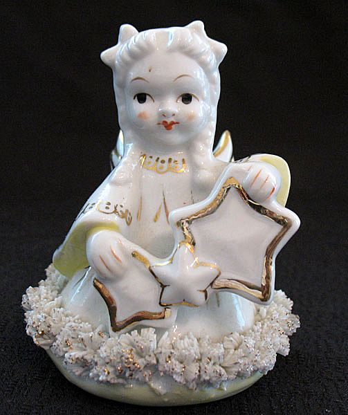 Vintage Collectible Angel Figurine Having Spaghetti Trim & Gold Paint Holding Stars 1950s Mint Condition