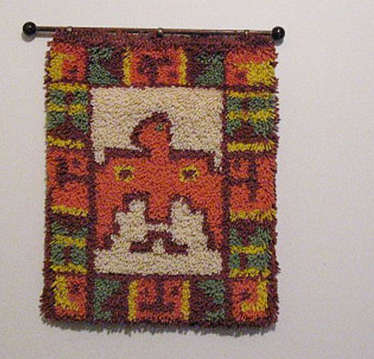 Vintage Collectible Indian Water/Peyote Bird Latch Hook Rug 1960-70s Folk Art Very Good Condition