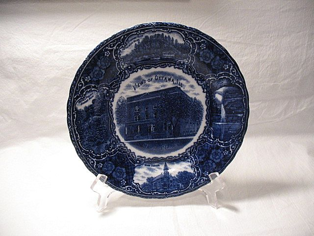 Vintage Flow Blue Ottawa Illinois Souvenir Plate Turn Of The Century Made In England