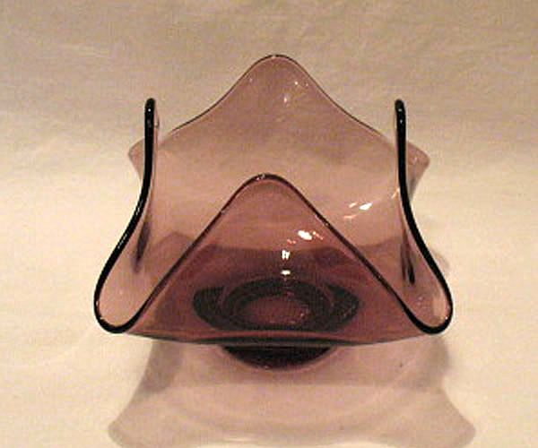 Vintage Collectible Amethyst Four Sided Low Footed Bowl Mint 1960s