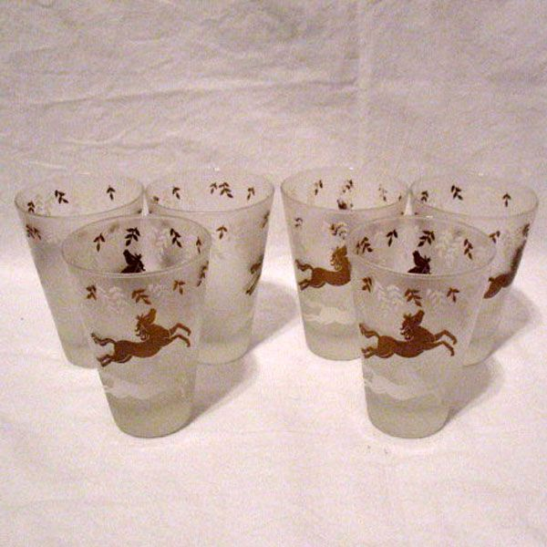 Vintage Collectible Libbey Circus/Cavalcade/Running Horses Pattern On (5) Cone Shaped Frosted Tumblers 1950s Mint