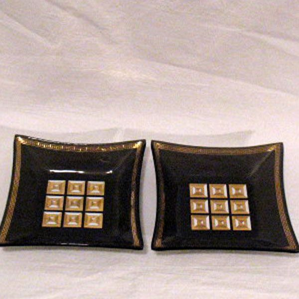 Vintage Collectible Retro Square Smoky Glass Candy/Nut Treat Dishes 1950-60s Excellent Condition