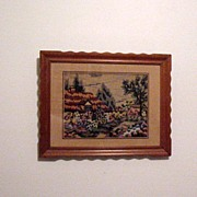 Vintage Folk Art Needle Point Picture 1940-50s Excellent Condition