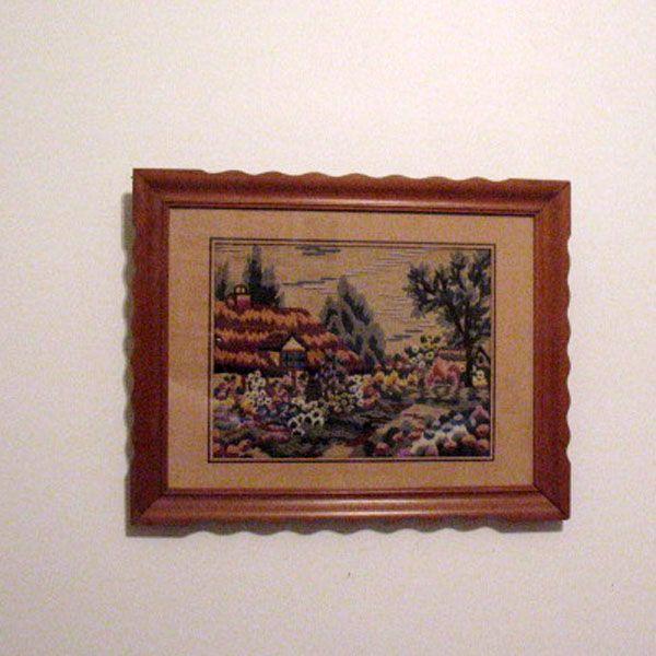 Vintage Folk Art Needle Point Picture 1940-50s Excellent Condition