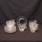 Vintage Cambridge (8) Crystal Cup & Saucer Sets Caprice Pattern 1940-57 Excellent Condition