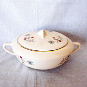 Vintage 1950s Covered Casserole Bowl with Floral Motif Very Good Condition