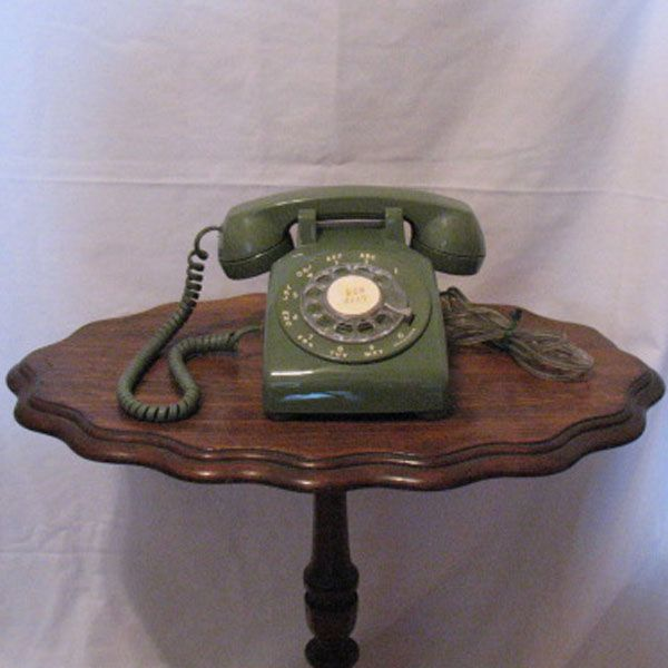 Vintage Collectible Avocado Colored Rotary Dial Telephone from 1960-70s Still in Excellent Working Condition.