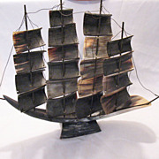 Vintage Collectible Sailing Ship Made From Cow Horn 1940-50s Very Good Condition