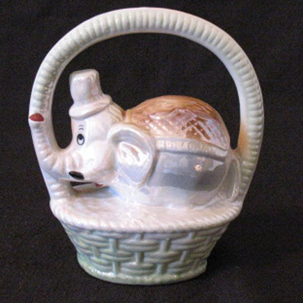 Vintage Figurative Porcelain Elephant in a Basket Iridescent/Lusterware Glaze Made in Brazil Mint