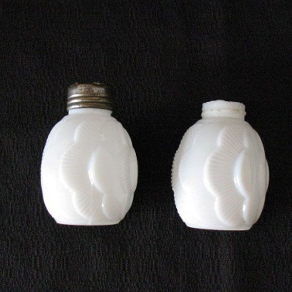 Vintage Milk Glass Shakers Turn of The Century Layered Effect Motif