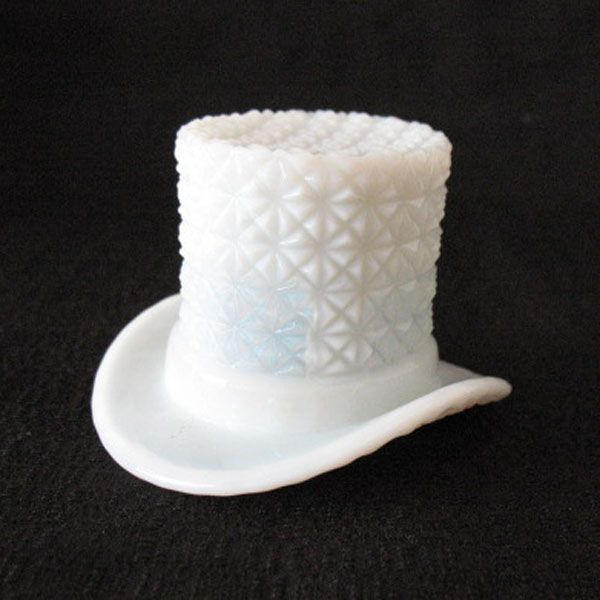 Vintage Milk Glass Top Hat with Buttons & Bows Motif