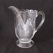 Vintage Collectible Crystal Pitcher Having a Rosette Motif With Vertical Rays/Icicles Late 1800s Early 1900s Mint Unused Condition