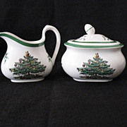 Vintage Collectible Spode China Christmas Tree Green Trim Pattern S3324 Sugar With Lid & Creamer Made in England