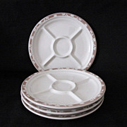 Vintage (4) Syracuse China Restaurant 5-Compartment Grill Plates 1930-50 Excellent Unused Condition