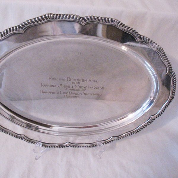 Vintage Collectible Award Reserve Champion Bull 1948 National Angus Show & Sale Awarded by Hartford Livestock Insurance Co Sterling Silver Plated Platter E.G. Webster & Son Excellent Condition