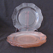 "Vintage Collectible (4) Pink American Sweetheart 9 3/4"" dinner plates by MacBeth-Evans From 1930-36 Very Good Condition"