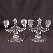 Vintage Collectible Imperial Two-Light Trident Crystal Candleholders Floral Cutting 1958-1971 Mint Condition
