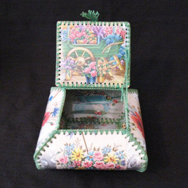 Vintage Collectible Celluloid Folk Art Trinket Box Turn-of-Century Excellent Condition