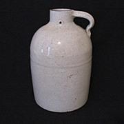 Vintage 10 1/2 Inch Glazed Pottery Jug Has Crazing Turn of Century