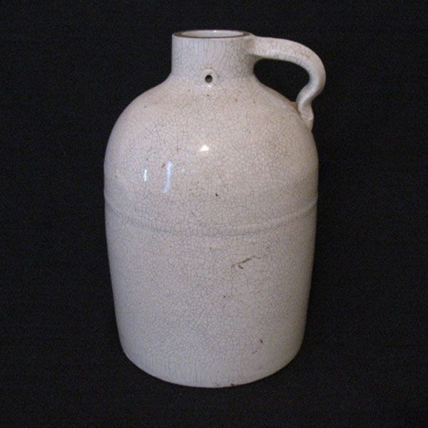 Vintage 10 1/2 Inch Glazed Pottery Jug Has Crazing Turn of Century