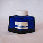 Vintage Parker Cobalt Blue Diamond Shaped Ink Bottle  Original Cap 1950s
