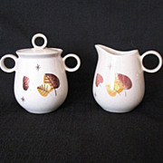 Vintage Retro/Mid-Century Metlox Vernon Ware Sugar & Creamer Sherwood Pattern 1958-65 Mint Condition