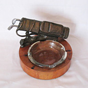 Vintage Brass Golfing Ashtray With Drink Stirrers 1950s  Excellent Vintage Condition