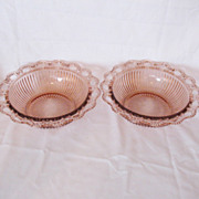 Vintage Old Colony/Lace Edged 9 ½ Inch Pink Ribbed Bowls 1935-38