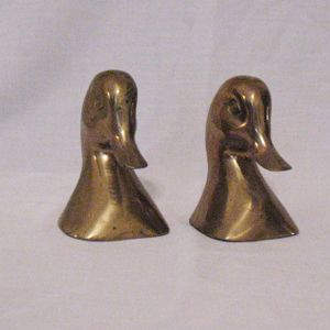 Vintage Brass Duck Bookends 1950s Great Vintage Condition