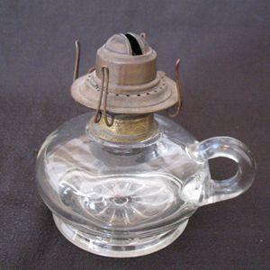 Vintage Short Finger Kerosene Lamp Floral Base Design Early 1900s Still Useable