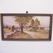 Vintage  Z.T. Hadland Print 1911 Cottage Near Road & Stream Excellent Condition.