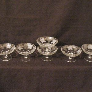 (6) Vintage Crystal Individual  Footed Almond Nut Dishes Grape & Leaf Etching 1950s Excellent Condition