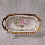 Vintage German Elongated Dish Gold Paint Rose Motif Handled 1920-30s Very Good Vintage Condition