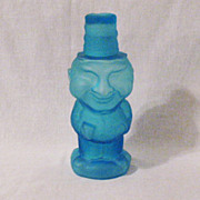 Vintage Satin Blue Frosted Jolly Mountaineer Decanter Made by Indiana Glass For Tiara 1974 Excellent Condition