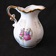 Vintage Small Pitcher Gold Paint Accents Colonial Couple Motif 1950-60s Excellent Condition