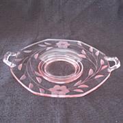 Vintage Fostoria Lemon Dish Rose Pink Floral Petal Flower 1930s Excellent Condition