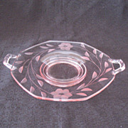 Vintage Fostoria Lemon Dish Rose Pink Floral Petal Flower 1930s Excellent Condition
