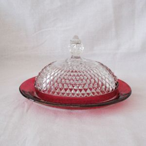 Vintage Westmoreland Cheese Dish Ruby Flashing English Hobnail Pattern 1930-40s Excellent Condition