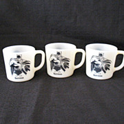 Vintage Comic Book Character (3) Batman Milk Glass Mugs by Westfield Copyright 1966 Excellent Condition