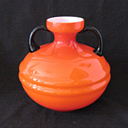 Vintage 1930s Orange Czech Vase Applied Black Glass Handles Very Good Condition