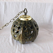 Vintage Mid-Century Ceramic Green Glazed Hanging Light 1960s Excellent Condition