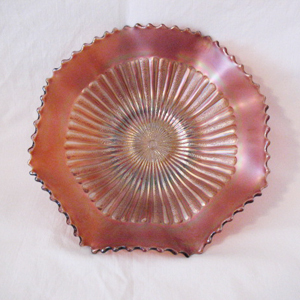 Vintage Northwood Carnival Glass Rare 9 Inch Bowl Stippled Mum Amethyst Starburst Lustre Turn Of The Century Very Good Condition