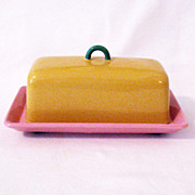 Vintage Collectible Lindt-Stymeist Covered Quarter Pound Butter Dish Colorways Pattern Mint Condition