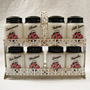 Vintage Tipp Spice Shakers Set Double Trellis Holder (8) Spice Shakers Floral Basket Motif 1930-50s Excellent Condition