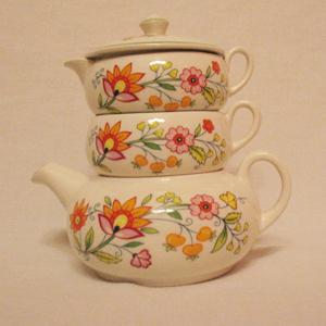 Vintage Old Foley Stack Tea Set Floral Fantasy Pattern James Kent Ltd Staffordshire England Excellent Condition