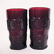 Vintage Avon Cape Cod Ruby Glassware (2) Tumblers 1990 Excellent Condition