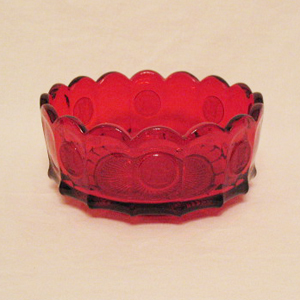 Vintage Fostoria Ruby Coin Glass Pattern Bowl Excellent Condition