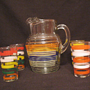 Vintage Anchor Hocking Pitcher with Ice Lip & (4) Glasses 1950-60s Excellent Condition