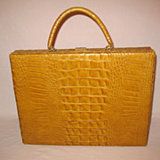 Vintage Mid-Century Faux Alligator Leather Briefcase Signed Inside Murray Kruger Excellent Condition